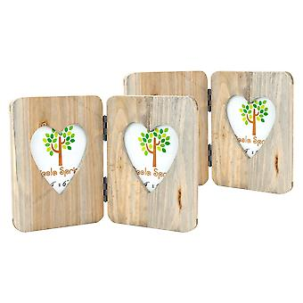 Nicola Spring Set of 5 4 x 6 Wooden Freestanding Folding Multi 2 Photo Picture Frames - Heart Shaped Aperture - Natural