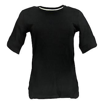 Isaac Mizrahi Live! Women's Top (XXS) Elbow Sleeve Crew Nck Black A306543
