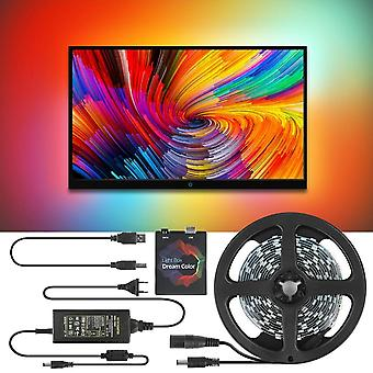 5v Ws2812b Usb Led Strip Light Rgb Dream Color Ambilight Kit For Hdtv Desktop Pc Screen Background Lighting