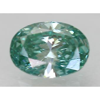 Cert 0.31 Carat Vert Bleu VS1 Ovale Amélioré Diamant Naturel 5.37x3.9mm 2VG