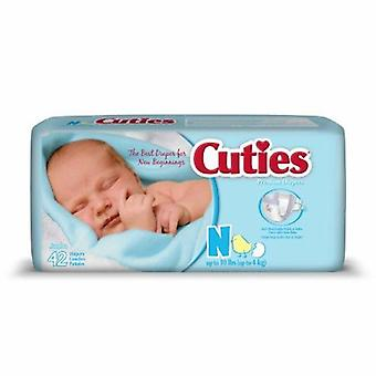 First Quality Unisex Baby Diaper Cuties Tab Closure Newborn Disposable Heavy Absorbency, 42 Bags