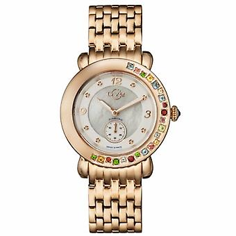 GV2-tekijä Gevril Women's 9892 Marsala Gemstone Diamond Rose-Gold Steel Rannekello