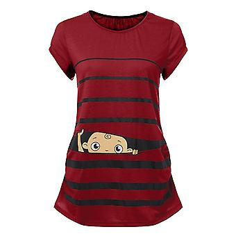 Maternity Clothes Women's Cute Funny Baby Print Striped Short- Sleeve Shirt / Pregnant Tops Plus Size