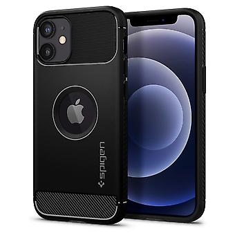 Caja para IPhone 12 Mini (5.4) Armadura robusta Alfombra negra