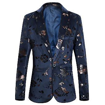 YANGFAN Men's Casual Jacquard One Button Suit Jacket Floral Print Flat Collar Blazer