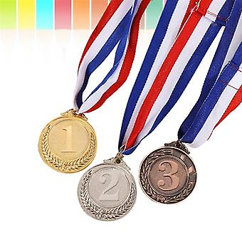 3pcs Metal Award Medals With Neck Ribbon-olympic Style For Sports Academics Or