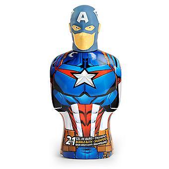 2-in-1 Gel and Shampoo Avengers Capitán América Cartoon (475 ml)