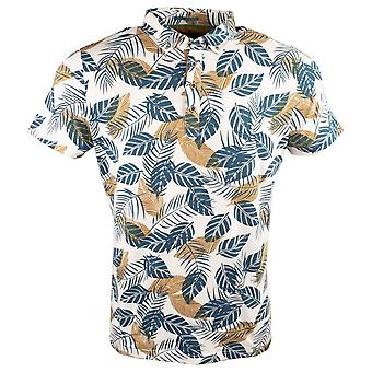 Guide London Tropical Leaf Print Cotton Polo T-Shirt