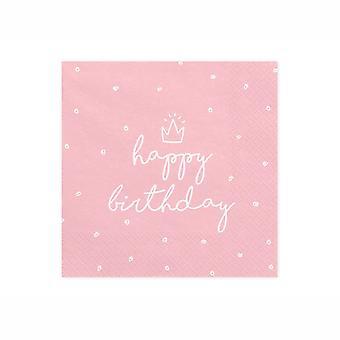 Pink Napkins Happy Birthday 33x33cm 3 ply x 20