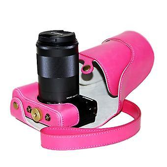 Öljy ihon PU nahka kamera laukku hihna Canon EOS M3 (Magenta)