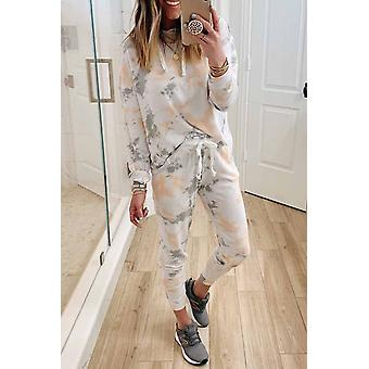 Tie Dye Casual Hooded Top & Drawstring Women's Pants Set