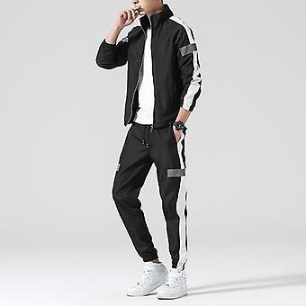 Forår / efterår Hættetrøjer Sæt, Træningsdragt Patchwork Hip Hop Sweatshirt + bukser