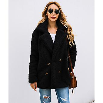 Women Suit Collar Buttons Pockets Thick Woolen Coats Casual Loose Solid Warm
