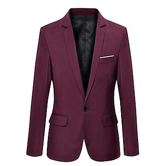 Homme's Formel Slim Fit Formal One Button Suit Long Sleeve Notched Blazer