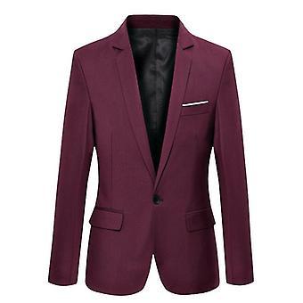 Men's Formal Slim Fit Formal One Button Suit Long Sleeve Notched Blazer