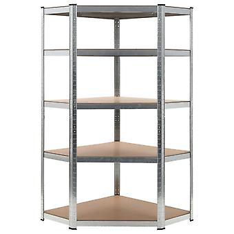 Storage shelf silver 90 x 90 x 180 cm steel and MDF