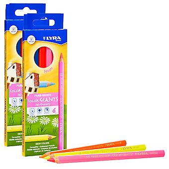 Color Giant Colored Pencils, Neon, 6.25Mm, Lacquered, 6 Colors Per Box, 2 Boxes