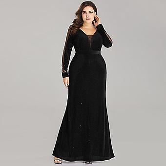 Women's Elegant Sparkle, Mermaid V-neck Velvet, Long Sleeve, Wedding Guest