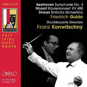 Beethoven/Mozart/Strauss - Beethoven: Symphonie No. 4; Mozart: Klavierkonzert Kv 488; Strauss: Sinfonia Domestica [CD] USA import