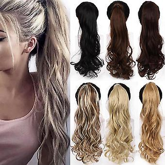 Wrap Around Clip In Ponytail Hairs Extension Heat Resistant Synthetic Natural