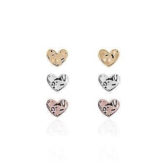 Joma Jewellery Florence Hammered Heart Silver Rose Gold Yellow Gold Earrings 3265