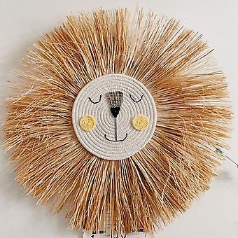 Décorations nordiques tissées de lion de dessin animé de main