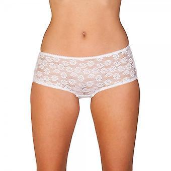 Camille Womens Tre Pack Vit Blommig Spets Boxer Shorts