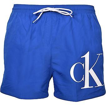 קלווין קליין CK1 לוגו אתלטיקה לחתוך לשחות מכנסיים קצרים, כחול