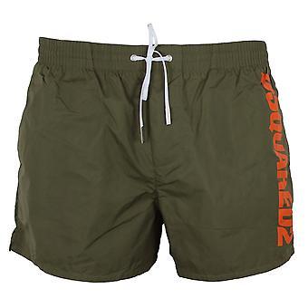 Dsquared2 men's khaki boxer midi swim shorts