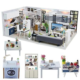 Diy House Miniature With Furniture Led Music Dust Cover,  For Casa Boneca