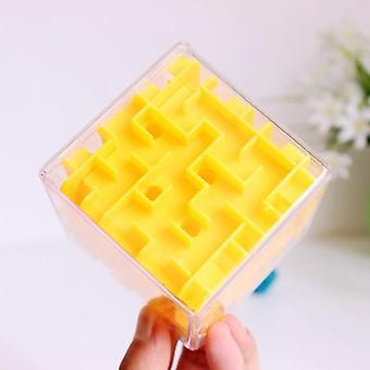 3d Maze Magic Kuusipuolinen Puzzle Speed Cube Rolling Ball Peli (keltainen)