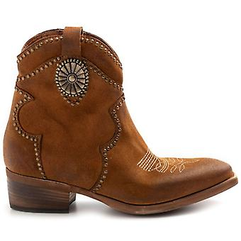Camperos Zoe Leather Suede Ankle Boots with Studs