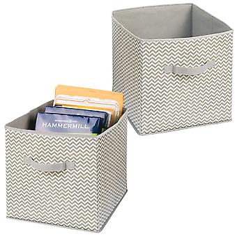 mDesign Fabric Office Storage Organiser Cube for Paper, Notebooks, Label Boxes - Pack of 2, Taupe/Natural
