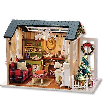 Handcraft Wooden Diy hut ,LED assembled model house toy