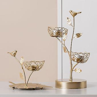 Nordic style inspired iron bird and leaves candle holders