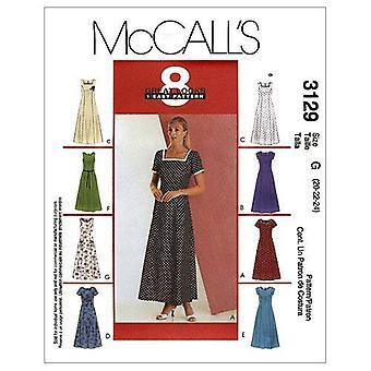 McCalls ompelu kuvio 3129 Misses Mekko Lyhyt hiha Koko 10-14