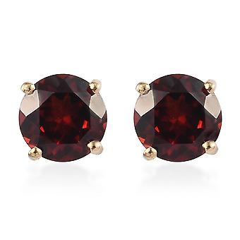 TJC Garnet Stud Earrings Gold Plated Silver Gift for Her 2.2ct
