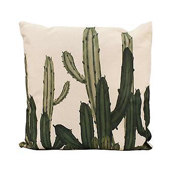 pillow cactus 45 x 45 cm cotton natural/green