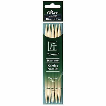 Clover Knitting Pins: Double-Ended: Set of Five: Takumi Bamboo: 16cm x 6.50mm
