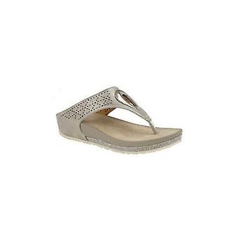 Cipriata Cadore Ladies Faux Leather Toe Post Mule Sandals Light Pewter