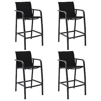 vidaXL chaises de jardin 4 pcs. Textile noir