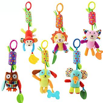6pcs Lion Cat Animals Rattle Toys With Chime Teether Plush Baby Hanging Toys Colorful Rattling Doll For Infant