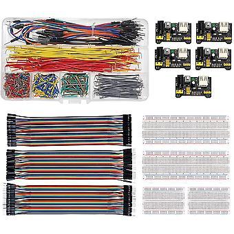 Wokex Breadboard Steckbrücken Drahtbrücken Set mit Steckbrett Netzteil Modul für Arduino, U-Form