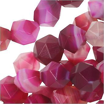 Dakota Stones Gemstone Beads, Dyed Pink Sardonyx, Star Cut Faceted Round 8mm, 15 Inch Strand