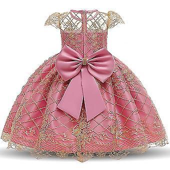 90Cm tief rosa Kinder formale Kleidung elegante Partei Pailletten Tutu Taufe Kleid Hochzeit Geburtstagskleider für Mädchen fa1740