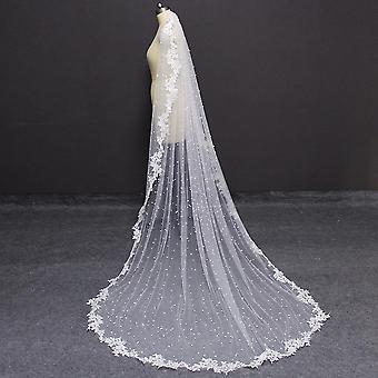 الدانتيل اللؤلؤ، حافة appliques، الحجاب الطويل مع فستان مشط