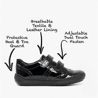 GEOX Hadriel G G بنات الجلود لمسة ربط الأحذية المدرسية براءة اختراع الأسود