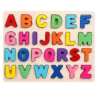 Trä pussel för småbarn, Abc Case Letter och nummer pedagogiska leksaker
