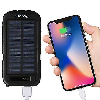 PANIZHE D2000 10000mah Dual USB Portable Outdoor Solar Energy Power Bank, Noir