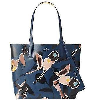 Kate Spade Arch Paper Rose Reversible Leather Tote Blue WKRU5967